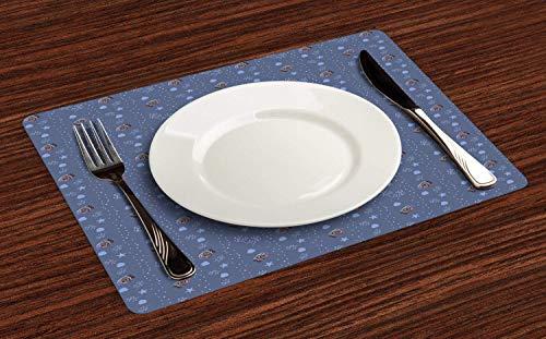 Juego de 4 manteles individuales azul náutico, bajo el agua con conchas abstractas de peces y estrellas de mar, resistentes al calor, lavables para mesa de comedor, color morado, azul y marrón