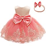 Toddler Embroidery Birthday Party Dresses Baby Little Girl Tulle Frocks Lace Party Ball Gown Dress(Watermelon+Apricot,120)