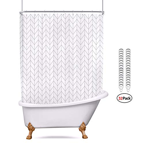 Riyidecor All Wrap Around Shower Curtain Polyester Fabric Panel 180x70 Inch White Chevron Clawfoot Tub Set Herringbone Waterproof with Metal Hooks with 32 Pack Extra Wide