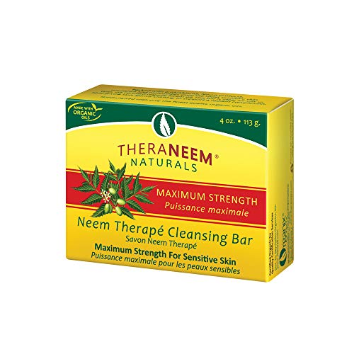 TheraNeem Neem Therape Cleansing Bar, Maximum Strength   Neem Oil Soap for Sensitive Skin   Soothes & Hydrates   4oz