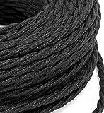 Cable eléctrico trenzado de 3 m de estilo vintage revestido de tela de color negro crudo, sección 2 x 0,75 para lámparas de araña, lámparas de mesa, diseño fabricado en Italia