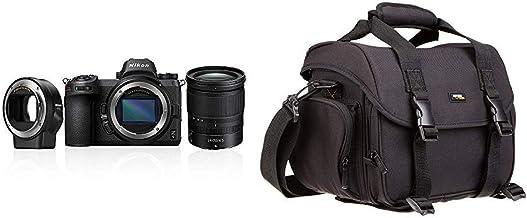 Nikon Z6 System Digitalkamera Kit 24-70 mm 1:4 S + FTZ Bajonettadapter & AmazonBasics - Große L Umhängetasche für SLR-Kamera und Zubehör, schwarz mit orange Innenausstattung