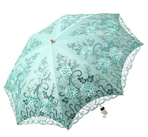 LCY Damen Sonnenschirm mit bestickter Spitze, doppelstöckig, UV-Schutz, Sonnen/Regen/Schnee, 2 Stück