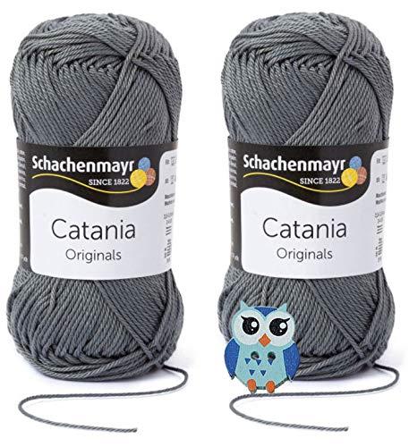 Schachenmayr Catania Wolle 2x50 Gr, 100% Baumwolle + 1 Eulen Knopf(242 Stein)