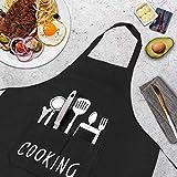 GHJK Kochschürze Set Mit Handschützern Taschen Latzschürze Wasserdicht Baumwolle Leinen Für Restaurant (Schwarz) - 4