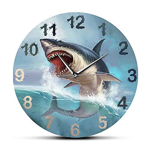 CVG Hungry Great White Shark Reloj de Pared para habitación de niños Sea Lift Art Home Décor Ocean Animal Aquarium Reloj de Pared silencioso sin tictac Regalos para Hombres