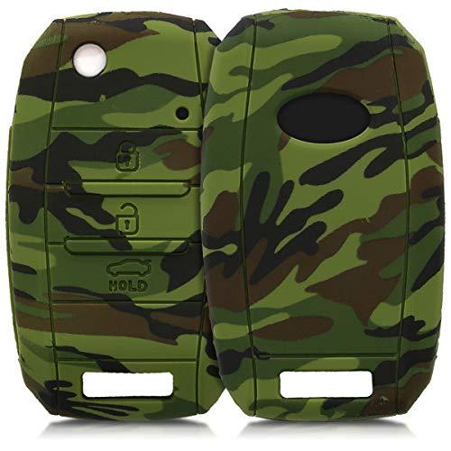 kwmobile Funda Compatible con Kia Llave de Coche de 3-4 Botones - Carcasa Protectora Suave de Silicona - Camouflage