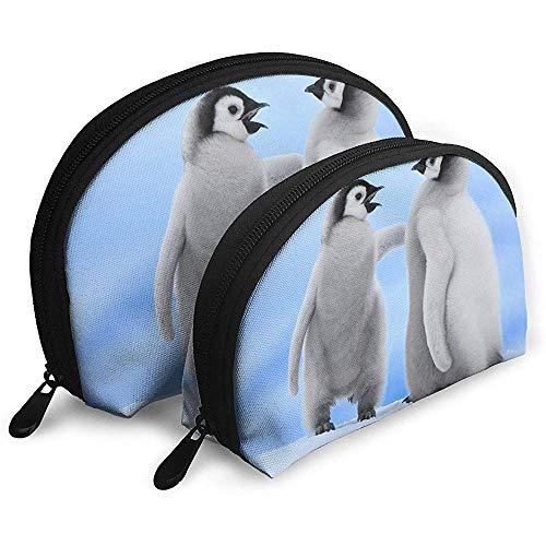 Baby Penguins Bolsas portátiles Bolsa de Maquillaje Bolsa de Aseo, Bolsas de Viaje portátiles multifunción Pequeña Bolsa de Embrague de Maquillaje con Cremallera
