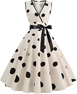 iLXHD Candy Print Long Sleeve Evening Party Swing Dress Vintage Dress with Belt