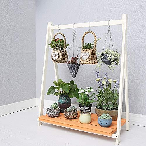 JKXWX Bloempot Houder Binnen, Effen Hout Creatieve Grond Europese Bloemenstandaard Multi-Layer Balkon Plant Stand