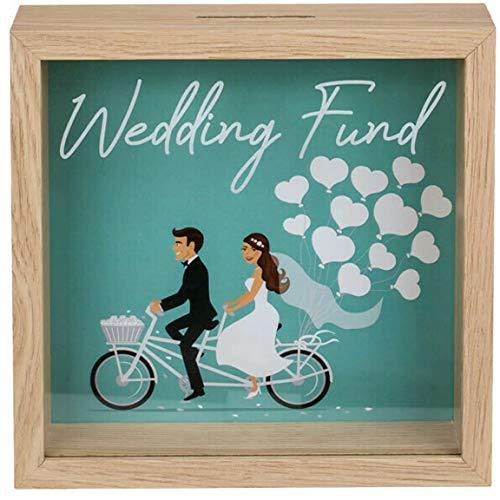 Bada Bing Hucha para boda con marco de fotos de boda, de madera de menta, verde, para viajes, boda, regalo de dinero, imagen de 20 x 20 cm, alta calidad 56