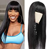 ANNELBEL Silky Brazilian Virgin Straight Human Hair Wigs with Bangs 150% Density 10A Unprocessed Remy Human Hair Straight Wigs for Black Women Natural Color (16 Inch, Straight Hair Wig)