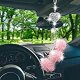 Bling Car Rear View Mirror Hanging Accessories for Women Men, Rinestones Diamond Love Heart with Pink Plush Ball Car Interior Decor,Lucky Sparking Crystal Sun Catcher Ornament Charm,Best Gifts