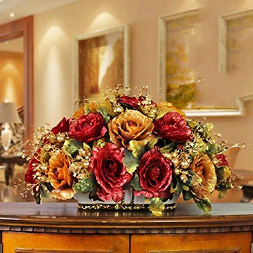 Vase Luxushalle Keramikvase + Künstliche Blumenfiguren Home Crafts Dekoration Veranda Esstisch Gefälschter Blumentopf Ornament Style10