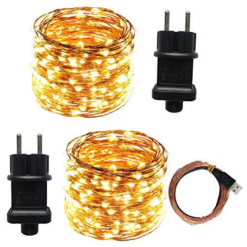 ACDE 2 Piezas 10M / 100 LED Guirnaldas Luces con EU Enchufe para Navidad Boda Fiesta Interior Intemperie Decoración - Blanco Cálido