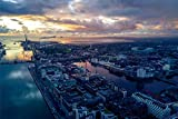 Dublin Hafen Skyline Art XXL Wandbild Kunstdruck Foto