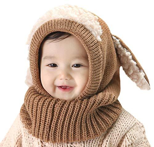 DELEY Unisex Bambino Autunno Inverno Maglia di Lana Carino Animale Cane Paraorecchie Sciarpa Cappello Cappelli Cappuccio Natale Regalo caffè