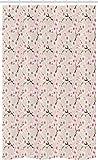 ABAKUHAUS asiatisch Schmaler Duschvorhang, Flowering Cherry Blooms, Badezimmer Deko Set aus Stoff mit Haken, 120 x 180 cm, Beige