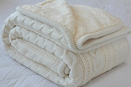 Comforbed Classic All Season Soft Cable Sweater Knitting Throw Blanket Quilted Throws with Sherpa Lining for Bed Sofa Couch Decor Cream 51x63 Inch