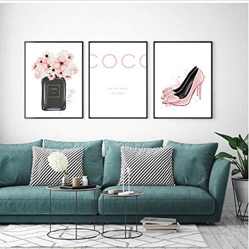 asasI9 Nordic Parfümflasche Coco High Heels Wandkunst Leinwand Malerei Moderne Wandbilder Für Wohnzimmer Wohnkultur 40x60 cm Ungerahmt