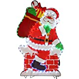 WeRChristmas Chimenea de Papá Noel LED de Cuerda de Luces Silueta al Aire Libre jardín decoración de Navidad – Tamaño 100 cm, 95 x 62 x 2 cm