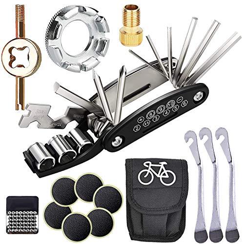SPROUTER Fahrradreparatur-Werkzeugsatz, 16 in 1 Multi-Fahrrad-Werkzeugtasche, Fahrrad Speichenschlüssel, Fahrradreifen-Reparatursatz Edelstahl-Reifenheber 6 Reifen-Patch, Presta Ventil Kernschlüssel