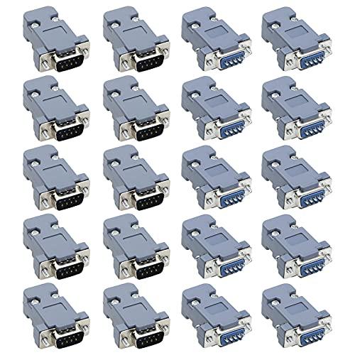 20x RS232 - Conector adaptador paralelo DB9 puerto serie 9 pines D Sub macho a hembra para ordenador con tapa de plástico