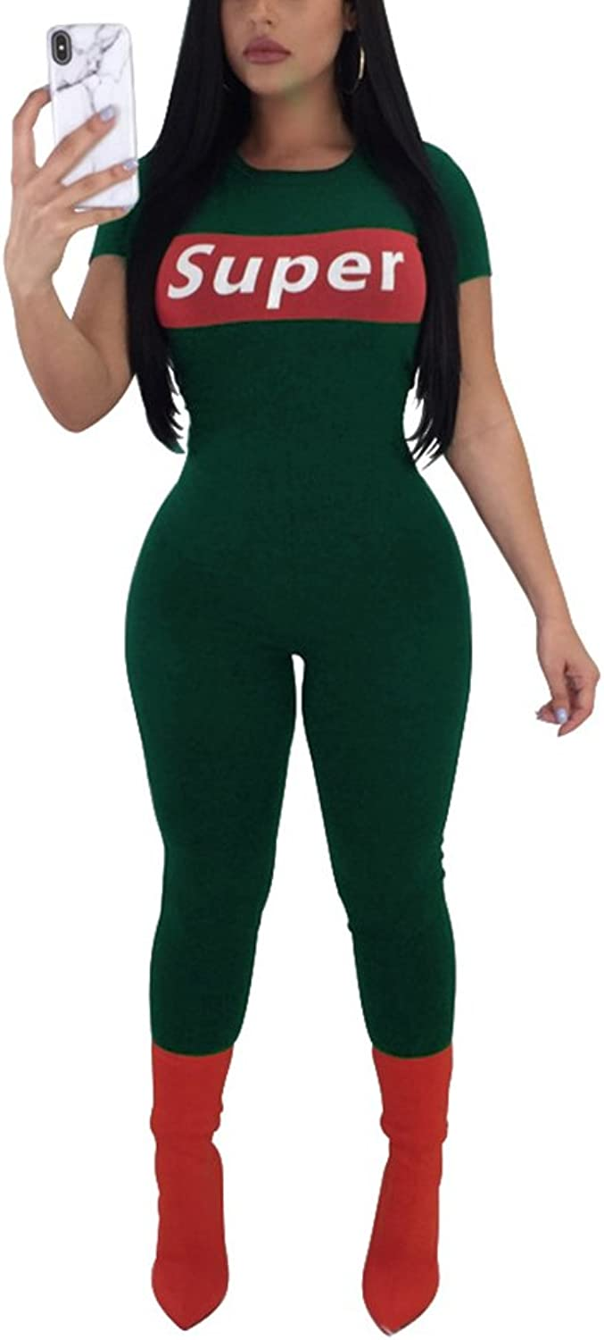 Felicity Young Women's Casual Short Sleeve Round Neck Bodycon Long Jumpsuit Romper Pants Clubwear Playsuit Graphic Tracksuit