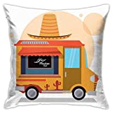 DHNKW Throw Pillow Case Cushion Cover,Mexican Fast Food Delivery Truck with A Big Sombrero Hat Graphic ,18x18 Inches