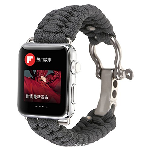 HappyTop Apple Watch Band Ersatz 38 mm/42 mm, Nylon Strick Herren-Armband iWatch Bands Outdoor Camping Wandern Survival Helfer, unisex, grau, 42mm