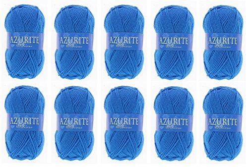 Lot 10 Pelotes de laine Azurite 100% Acrylique Tricot Crochet Tricoter - Bleu - 3040