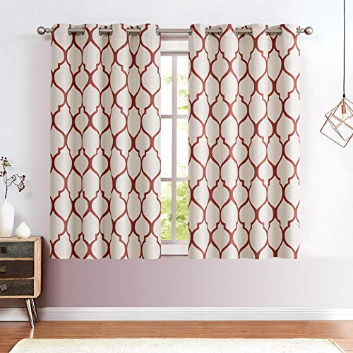 """jinchan Linen Textured Curtains Moroccan Tile Printed Curtains Panels Room Darkening Bedroom Living Room Thermal Insulated Window Treatment Drapes 2 Panels 63"""" L Terrared"""