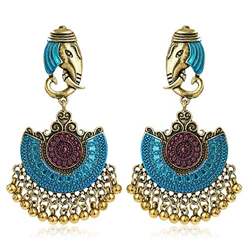 Pendientes de gota de elefante indio tribal bohemio hueco bohemio antiguo Pendientes de princesa Aladdin para mujer