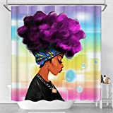 Raymall Shower Curtain African American Woman Afro Lady with Purple Hair Black 72x72 Inches Waterproof Fabric Polyester with Hooks for Bathroom Decor (Multi2-woman)