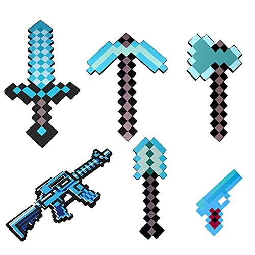 JYMEI MC Schaumstoff-Diamant-Schwert Spielzeuge,Einschließlich Schwert,Spitzhacke,Schaufel,Axt,Maschinenpistole,kleine Pistole,lustiges Waffenspielzeug,Rollenspiel und Verformung(blau)