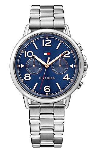 Tommy Hilfiger 1781731 - Reloj análogico de cuarzo con correa de acero inoxidable para mujer, color plata/azul
