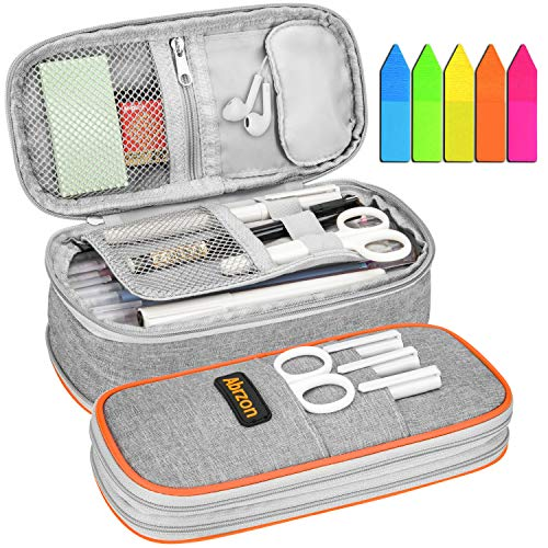 Pencil Case, Abrzon Big Capacity Pencil Pen Case Office College School Large Storage High Bag Pouch Holder Box - 8.26x3.93x2.75 inches Gray New Arrival
