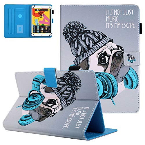 9.5-10.5 Inch Universal Tablet Case,APOLL Universal Folio Wallet Stand Cover for Samsung Galaxy A7 10.4' 2020(SM-T500/T505/T507)/Galaxy Tab SM-T550/T560/T800/T810/MatrixPad Z4 10', A-Music Dog