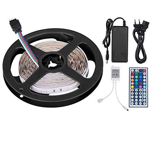 AMNVBD 5 m luz de Tira Tira de LED LED LED 12V 150 es, Adaptador de Corriente 3A, una tecla de Control Remoto 44, el Receptor, [+++ Clase de eficiencia energética] 5M