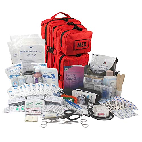 Luminary Global Tactical Trauma Kit Fully Stocked First Aid Kit Backpack EMS/EMT First Responder Medical Bug Out Bag for Preppers Professionals and Outdoorsman (Red)