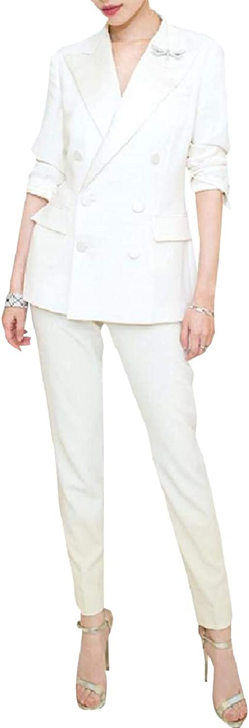 Coolhere Women Office Double Breasted Blazer Tenths Pants 2Piece Suits Set