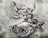 Ghjxda 5D DIY ダイヤモンドペインティングキット カラフルペインティングアートクラフト タトゥーアートスケッチ バイキング戦士 古代木製フィギュアヘッド ロングボート絵画 大人向けキャンバスフルドリル 16x20インチ