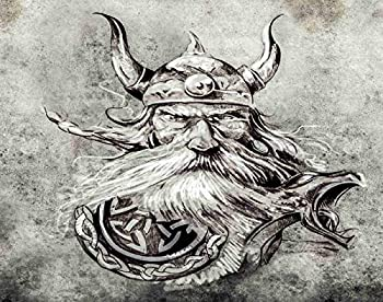 Ghjxda 5D DIY Diamond Painting Kits Colorful Painting Arts Craft Tattoo Art Sketch Viking Warrior Ancient Wooden Figure Head Longboat Painting by Numbers for Adults Canvas Full Drill 12x16 Inch