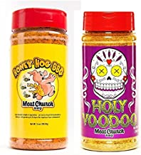 Meat Church BBQ Rub Combo: Honey Hog (14 oz) and Holy VooDoo (14 oz) BBQ Rub and Seasoning for Meat and Vegetables, Gluten Free, One Bottle of Each