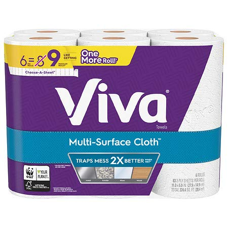 Viva Multi-Surface Cloth Choose-A-Sheet Paper Towels Cloth-Like Kitchen Paper Towels, White, 83 ct