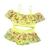 Nuohuilekeji Verano Playa Niñas Dulce Patrón Floral Espagueti Correas Bikini Set Traje de baño Amarillo amarillo 12-15 años