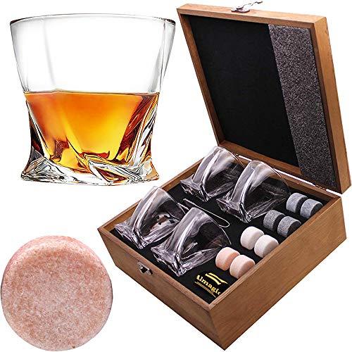 Almagic Whiskey Glass Set van 4 loodvrij kristal oud modieus glas 35 ml voor Scotch of Bourbon Houten Gift Box met 8 ronde grote whiskystenen, Tong, Fluwelen tas