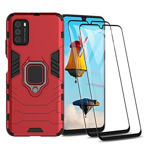 GOGME Funda para Xiaomi Poco M3 y 2 Piezas Cristal Templado, Shockproof Carcasa con 360 Grados Giratorio Anillo Kickstand, Hard PC y Silicona TPU Hybrid Armor Case. Rojo