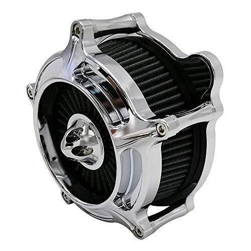 Luftfilter Motorrad Turbine Air Cleaner Intake Filter Cnc Cut Kit Chrom für Harley Sportster XL 883 XL 1200 2007-2019 Einbau - A (Grau)