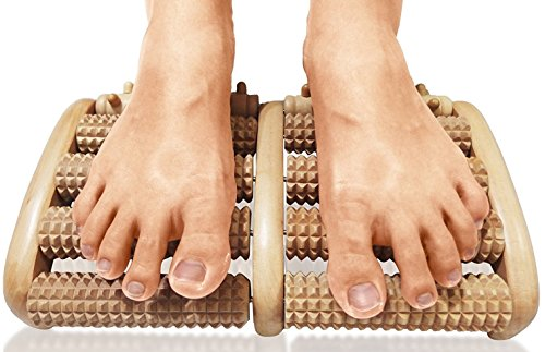 TheraFlow Dual Foot Massager Roller (Large). Relieve Plantar Fasciitis, Stress, Heel, Arch Pain - The Original - Shiatsu Acupressure Relaxation....